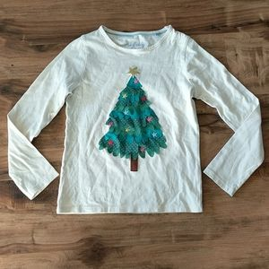 Mini Boden Christmas Tree Long Sleeve Shirt Girls